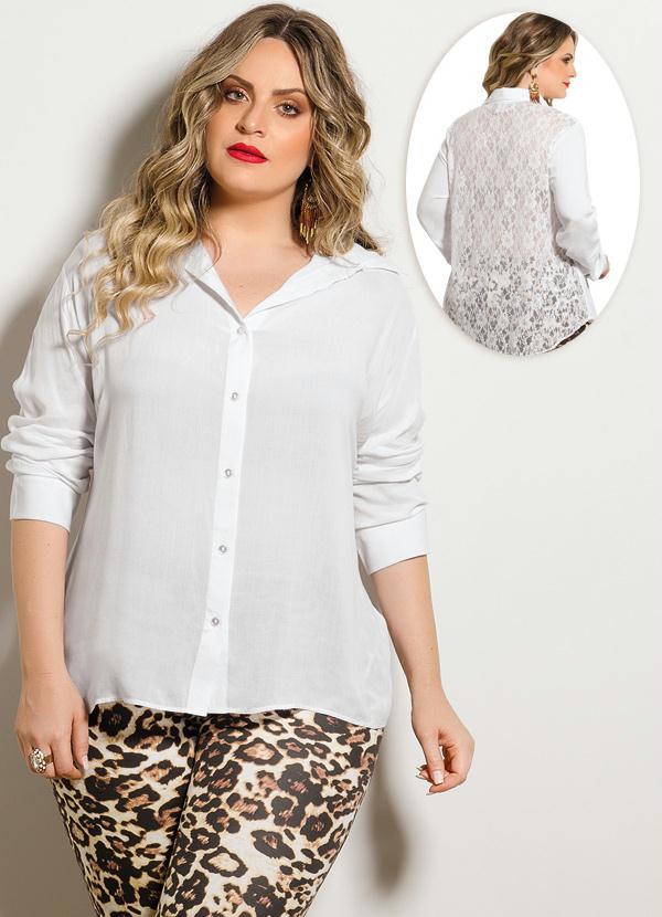 b48b46526 Quintess - Camisa Costas em Renda Branca Plus Size - Quintess
