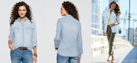 Camisa Jeans Manga Longa Azul