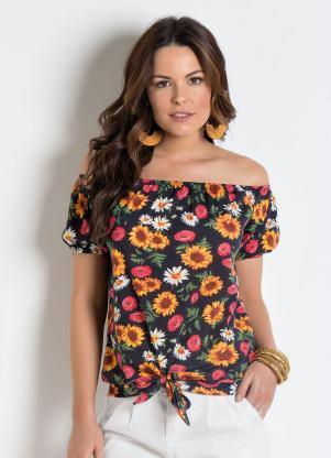 30f8d40830 Moda Pop - Blusa Ciganinha com Amarração Floral
