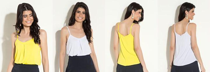 45e646cc2 0.0 Kit de Blusas Quintess Branca e Amarela