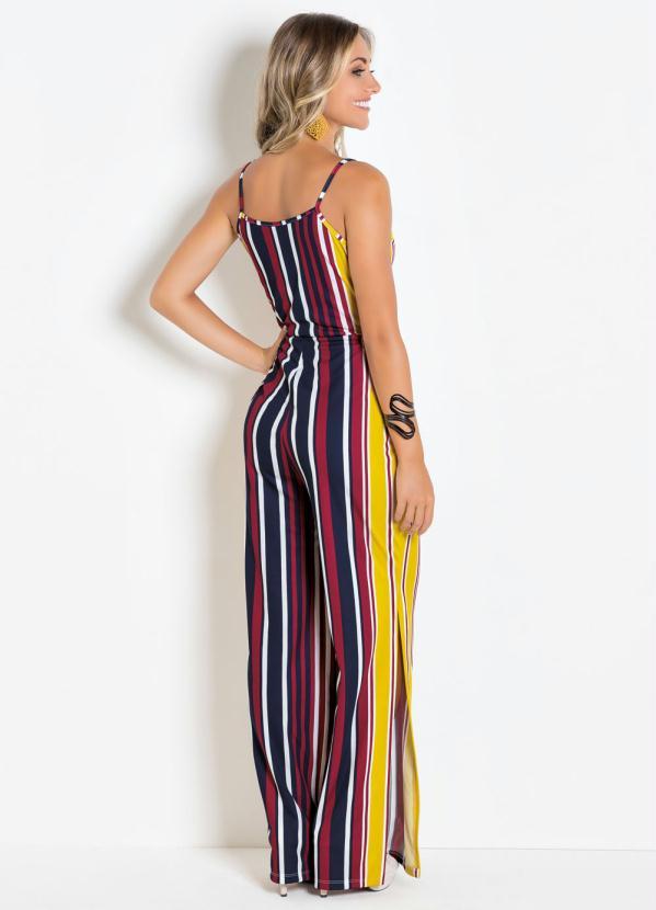 37a0f7bb17 Moda pop - Macacão Pantalona Listrado com Fenda Lateral - Moda Pop