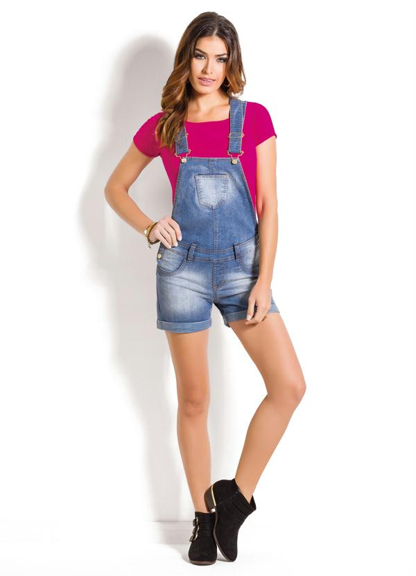 Jardineira jeans azul claro curta posthaus for Jardineira jeans feminina c a