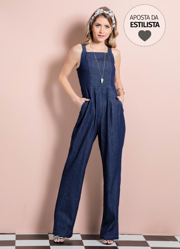 cb4961fc8 Macacão Jeans Quintess com Alças e Bolsos - Quintess Outlet