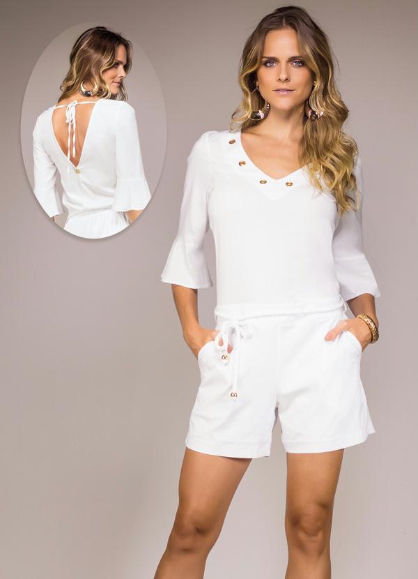 Macaquinho Decote V Ana Hickmann Branco - Multimarcas 38600a1af5