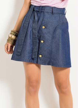 d858ac3cc produto Saia Jeans Quintess com Botões Frontais