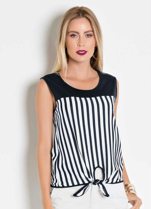 Moda Pop - Regata Preta e Listrada com Amarração na Barra - Moda Pop 6b3108ea221