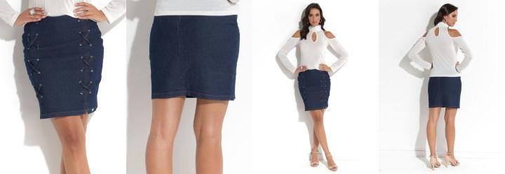 Saia Quintess Jeans com Detalhes de Tiras