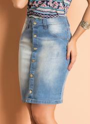 Saia com Botões Frontais Jeans Claro