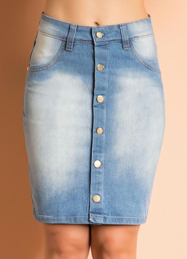 a4e8089745 Queima estoque - Saia com Botões Frontais Jeans Claro - Queima de ...