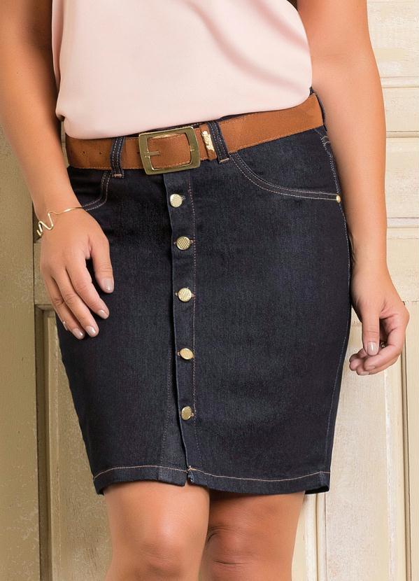 27e32ff10a Queima estoque - Saia com Botões Frontais Jeans Escuro - Queima de Estoque