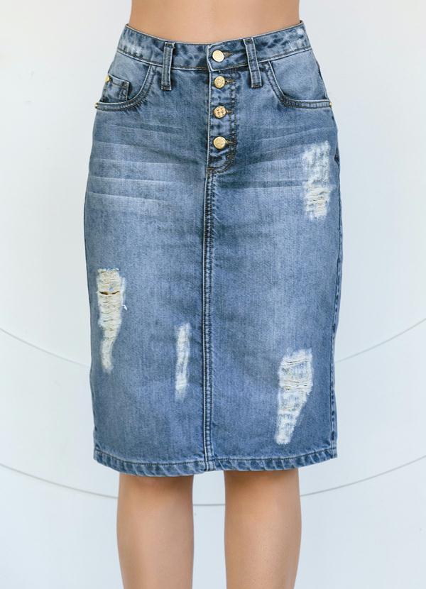 0eb92c3e74 Queima estoque - Saia Jeans Destroyed Azul Moda Evangélica - Queima ...