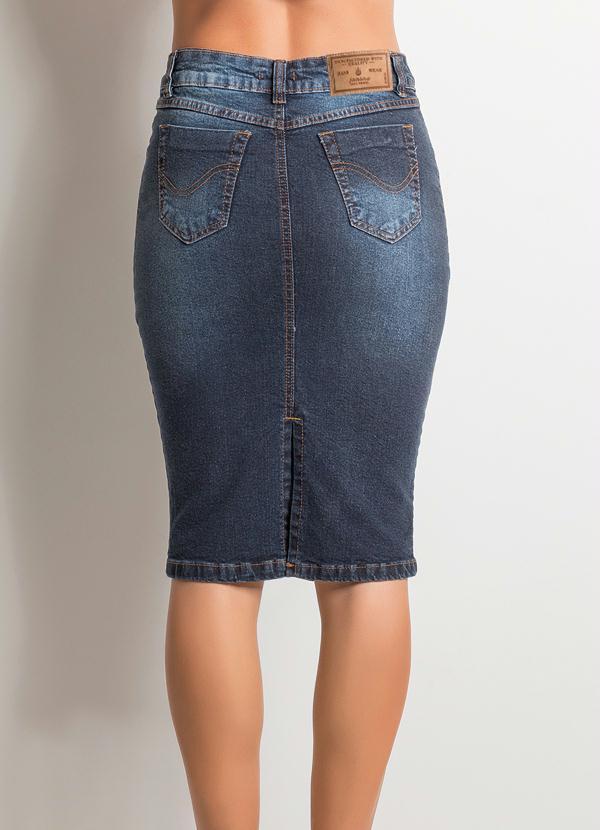 Muitas vezes Saia Midi Cintura Alta Jeans - Multimarcas RI97