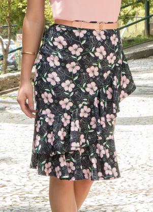 a826fa9afc produto Rosalie - Saia Floral Dark Sino com Babado Moda Evangélica
