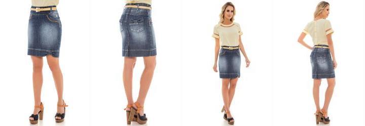 Saia Detalhe Lacos Jeans Via Tolentino
