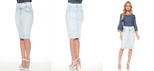 Saia Jeans com Puidos Azul Via Tolentino