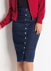 Saia com Botões Jeans Étnica Moda Evangélica