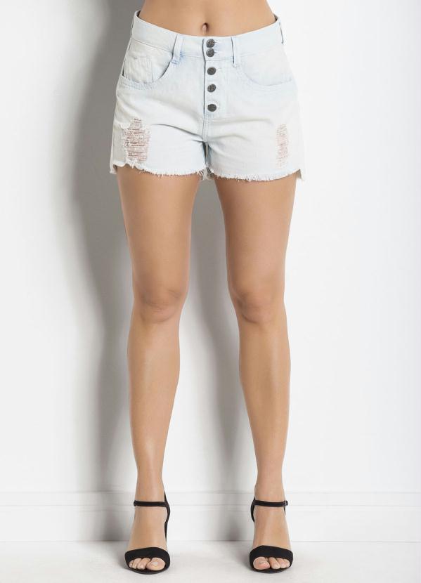 f43b7cbf57 Janine - Shorts Jeans Azul Claro Barra Mullet Desfiada - Multimarcas