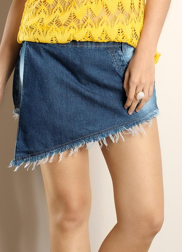 832625cc20 Janine - Short Saia Jeans Azul - Multimarcas