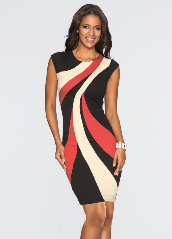5ffcbce55c02 Bonprix - Vestido Tubinho com Estampa Assimétrica Vermelho - bonprix