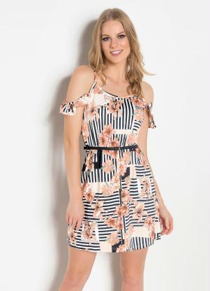 1d125c0e626f produto Queima Estoque - Vestido de Alça com Babado Floral e Listrado
