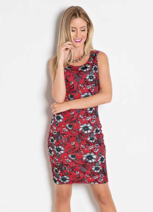7aa011aee8 Moda Pop - Vestido Tubinho Floral Vermelho