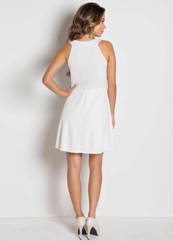 b2d165b2134 Moda pop - Vestido Branco sem Mangas Evasê - Moda Pop