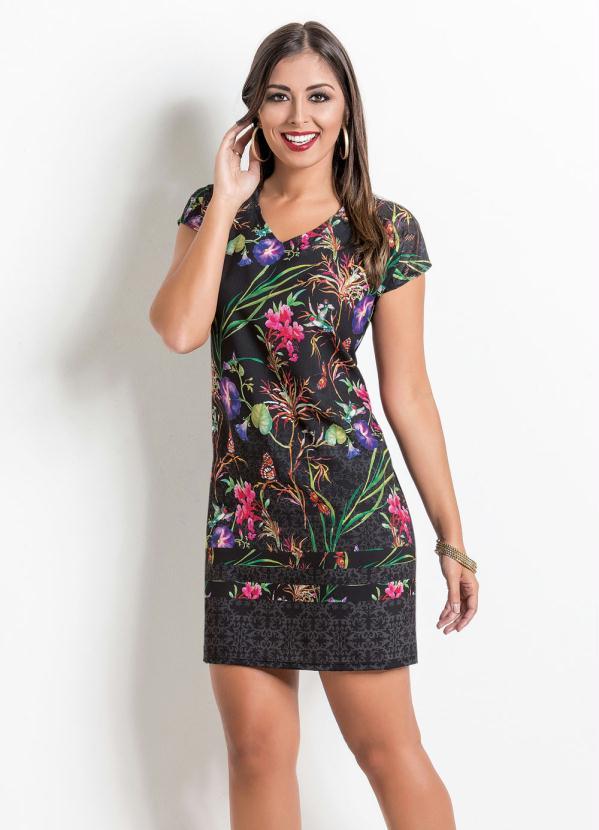 2d7b0db6d Vinculo basic - Vestido com Decote V e Frente Estampada Floral - Multimarcas