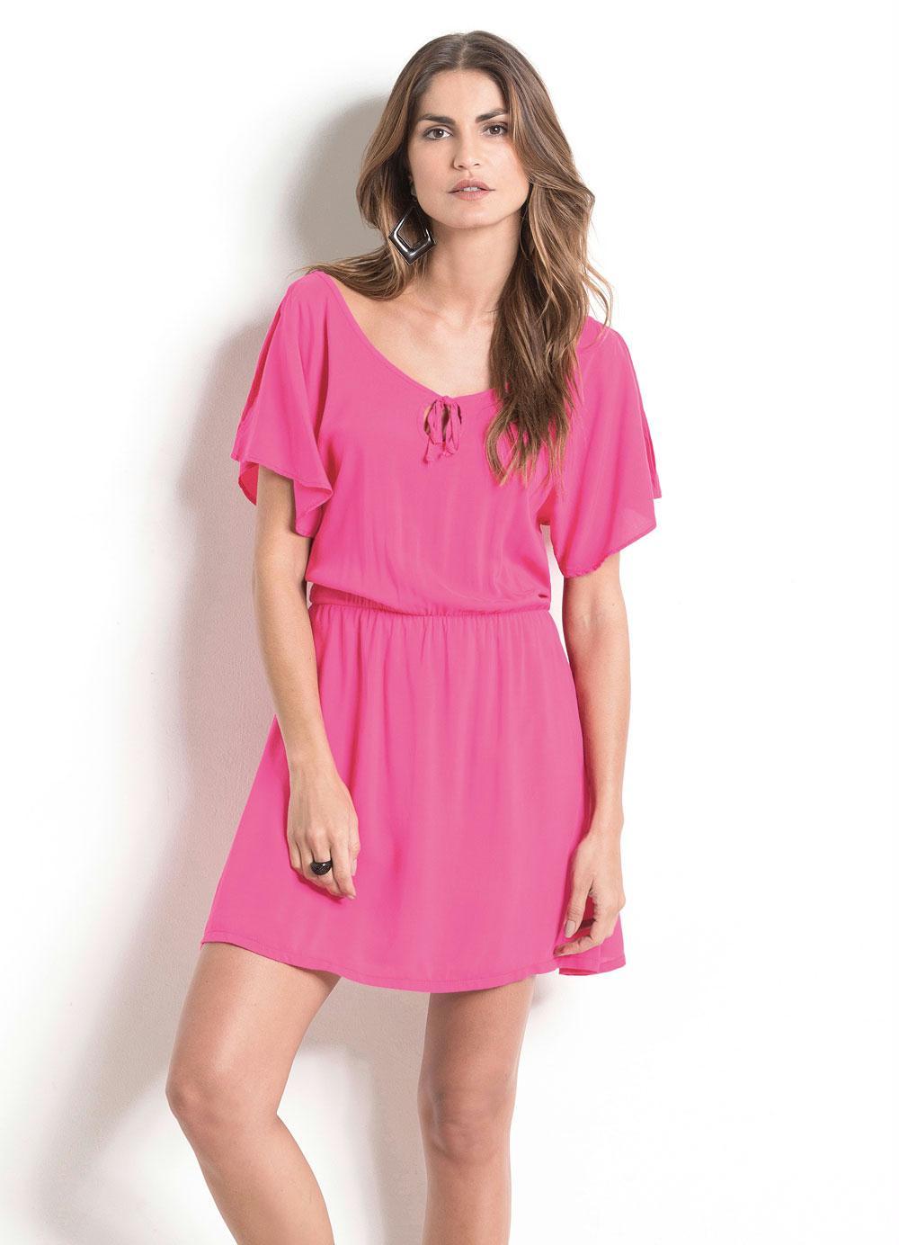 7a5784087 Vestido com Mangas Amplas Rosa Quintess - Quintess Outlet