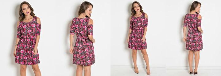 b006f71e6 0.804718017578125 Vestido com Ombros Vazados Floral