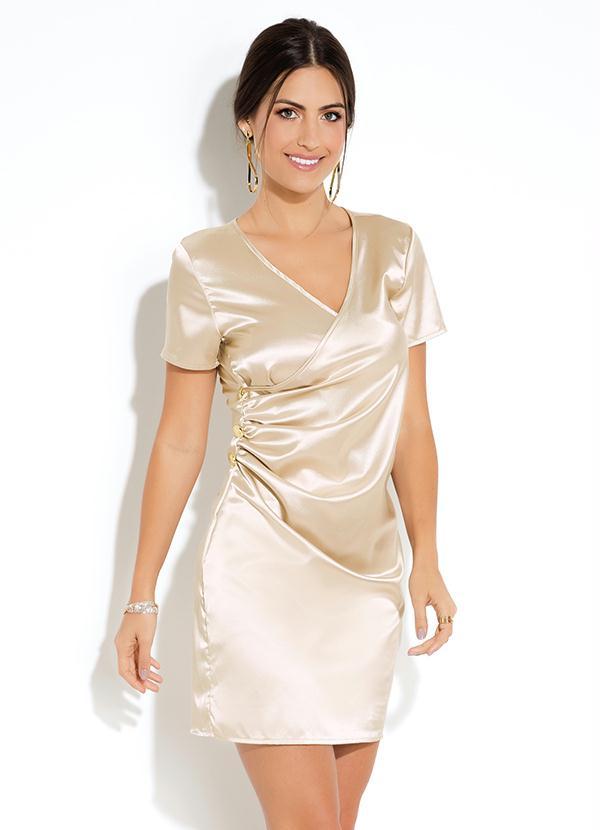 fd77016e1e Quintess - Vestido Curto Dourado com Franzido - Quintess