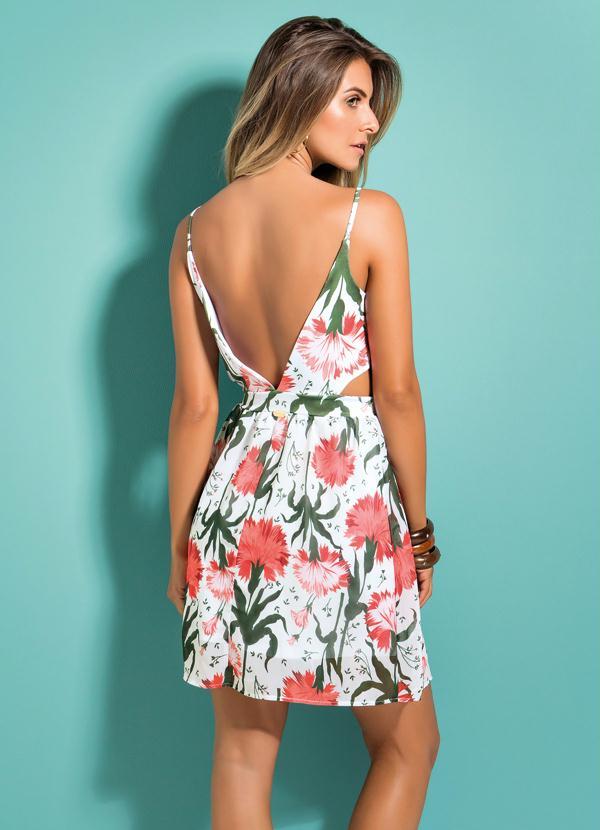 2066dc9833 Quintess - Vestido Floral Quintess com Decote V nas Costas - Quintess