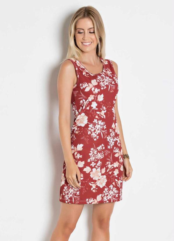 6640d3464 Queima estoque - Vestido Floral Vermelho com Decote Redondo - Queima de  Estoque