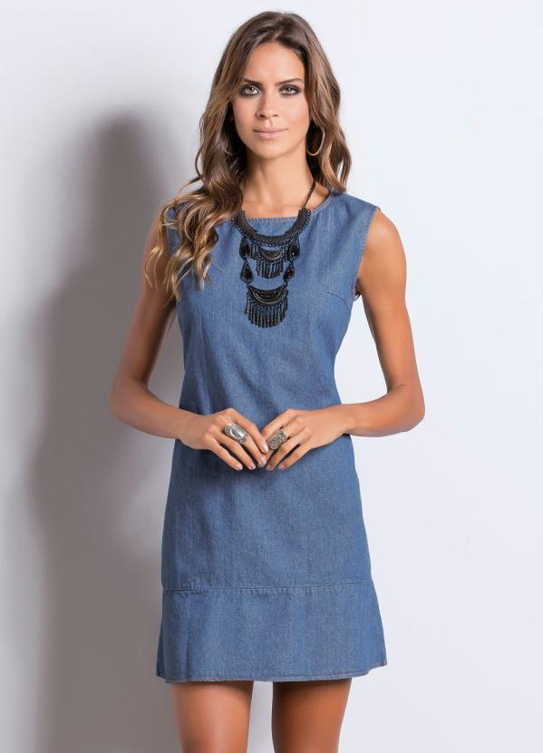 de8198a054 Quintess - Vestido Jeans Quintess com Babado na Barra - Quintess