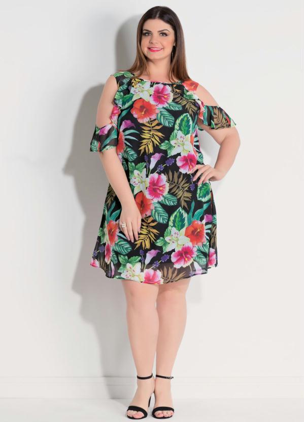 982115260 Quintess - Vestido Quintess com Ombros Vazados Floral Dark - Quintess