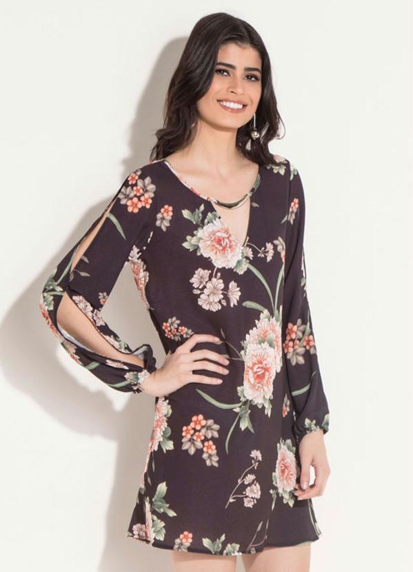 9369dbbdf8 Quintess - Vestido Quintess Curto Floral Preto - Quintess