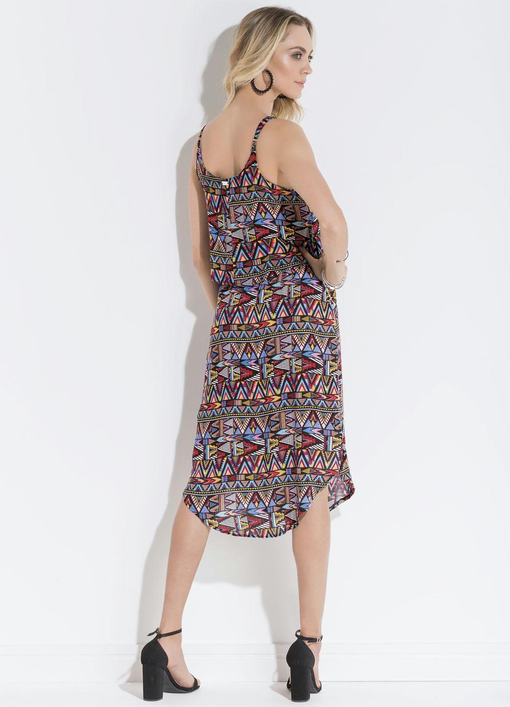 Vestido quintess tnico com barra arredondada quintess outlet for Etnico outlet