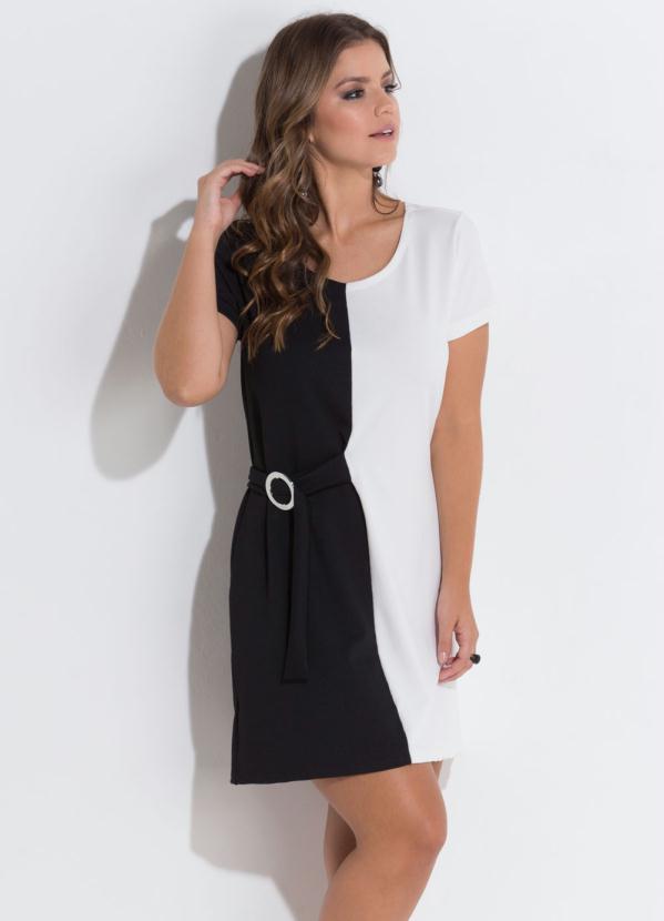 0241ac187a Quintess - Vestido Quintess Preto e Branco com Argola - Quintess