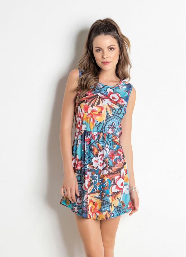 7725e023c Queima estoque - Vestido sem Manga Floral com Elástico na Cintura - Queima  de Estoque