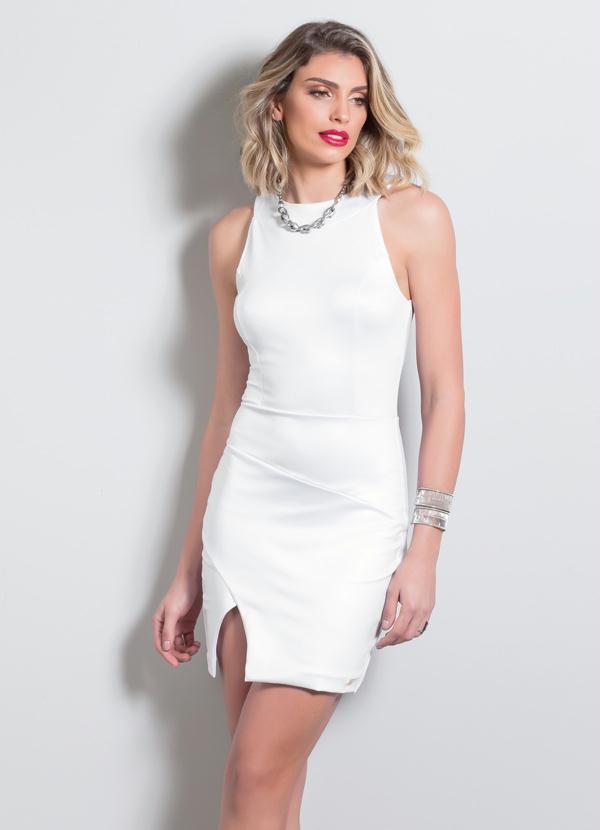 e4f612bb1 Quintess - Vestido Tubinho com Fenda Quintess Branco - Quintess
