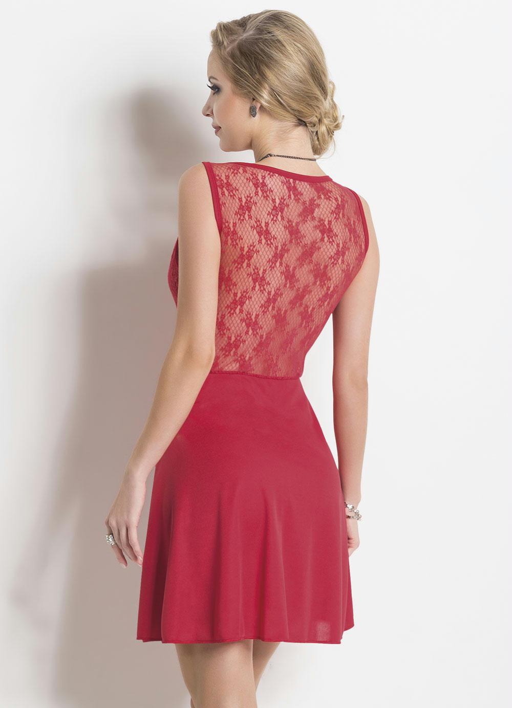 Vestido Vermelho Com Renda Frente E Costas Moda Pop