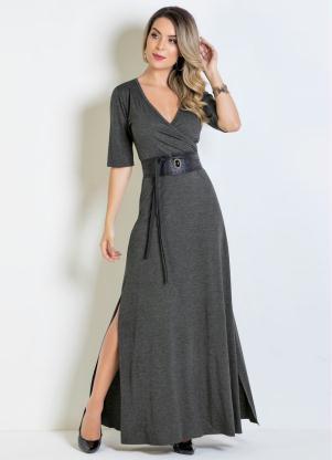 6a5bb134a produto Vestido Longo Chumbo com Decote Transpassado