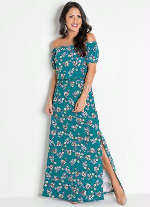 a935e14815 Moda Pop - Vestido Longo Floral Modelo Ciganinha