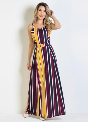 739687d06 Moda Pop - Vestido Longo Listrado com Alças