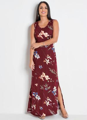 889510c55 Moda Pop - Vestido Longo Listras com Fendas nas Laterais