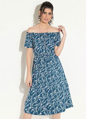 f1ebefcfb produto Quintess - Vestido Ombro a Ombro Floral Azul Quintess