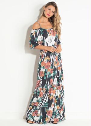 0c816a37c produto Vestido Quintess Ciganinha Floral e Listras