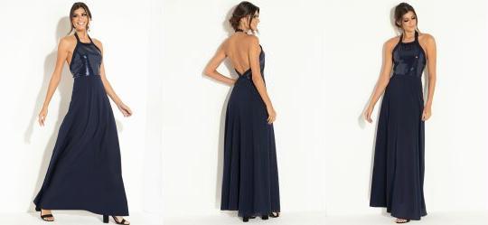a14a0c659e 1.193260908126831 Vestido Longo Azul com Elástico