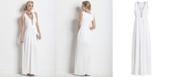 9628ae38e1 0.0 Vestido Longo com Tiras no Decote Branco