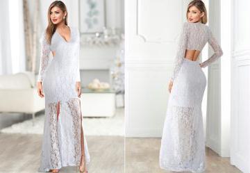da57bd211d 0.0 Vestido Longo de Renda Branco