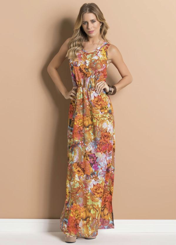 0e46218bc Queima de Estoque - Vestido Longo Floral com Elástico na Cintura ...